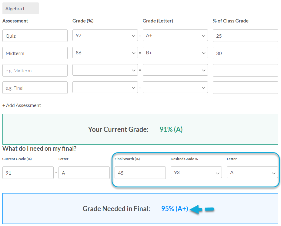 Grade Calculator Step 2 - Final Grades