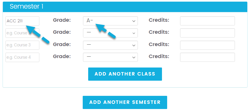 College GPA Calculator Step 1 - Enter Class Grades